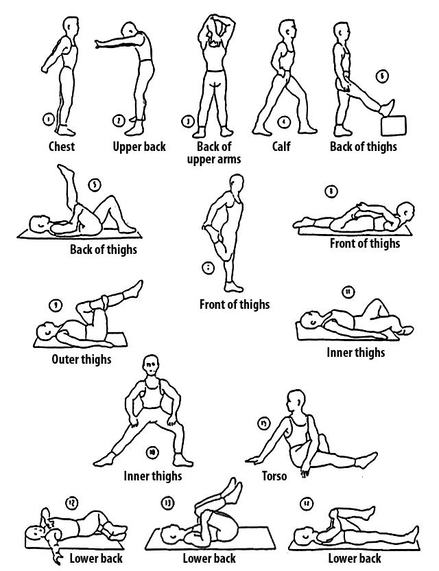 tabla de estiramientos básicos para runners
